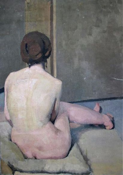 Louis BILLOTEY (1883-1940) Etude de nu assis...