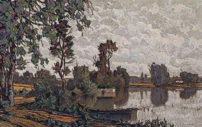 Eugène BROUILLARD (1870-1950) Paysage lacustre....