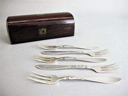 WELLMER Dix fourchettes à gateaux en métal...