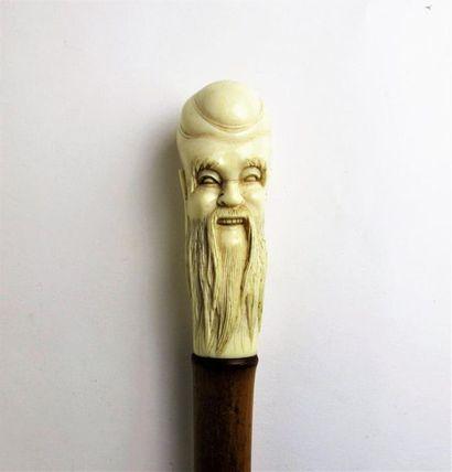 Canne, le fût en bambou, le pommeau en ivoire...