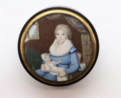 Ecole française vers 1790 Femme en robe bleue...