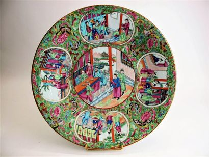 CHINE, CANTON, Fin XIXe siècle Plat rond...