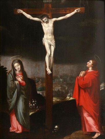 École flamande vers 1605 Le Christ en croix...