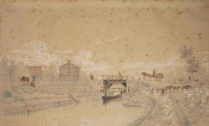 Adolphe MAUGENDRE (1809-1895) Deux dessins...