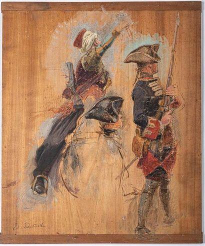 EDOUARD DETAILLE (1848-1912) Étude de gardes...