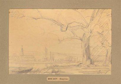 Attribué à Eugène BOUDIN (1824-1898) Paysage...