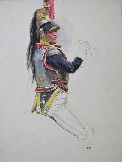 EDOUARD DETAILLE (1848-1912) Étude d'un cuirassier...