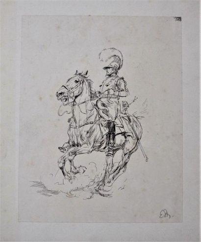 EDOUARD DETAILLE (1848-1912) Cavalier à cheval...