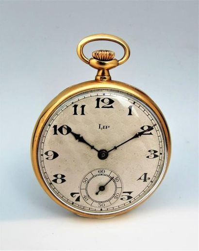 LIP 18k yellow gold pocket watch, guilloché dial with Arabic numeral indexes, railways....