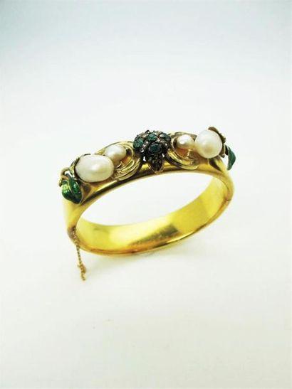 Bracelet jonc ouvrant en or jaune 750°/°°...