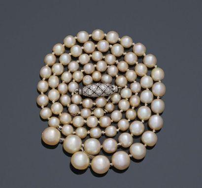 Collier composé de 85 perles fines d'eau...