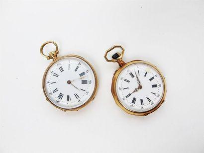 Deux montres de col en or jaune750°/°°, cadran...