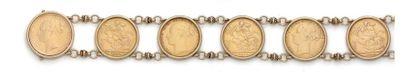 Bracelet en or jaune 18k formé de six monnaies:...