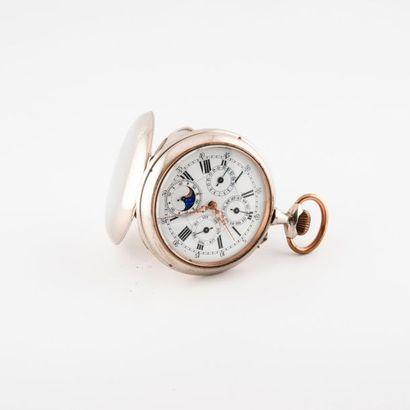 Importante montre de gousset en métal chromé...