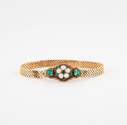 Bracelet en or jaune (750) à maille vénitienne...