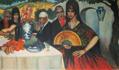 Ismaël de la SERNA (1898-1968) Repas et sérénade espagnole, 1923. Huile sur toile....