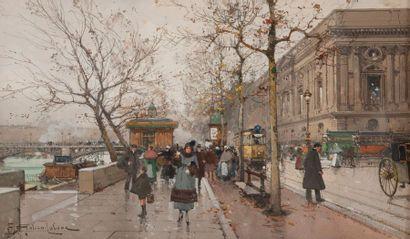 Eugène GALIEN-LALOUE (1854-1941) Les quais du Louvre. Gouache sur papier. Signé en...