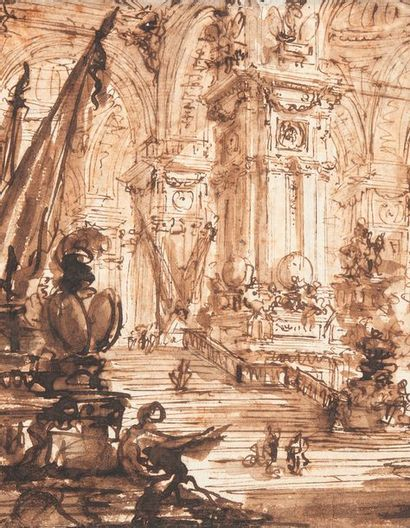 Giovanni Battista PIRANESE (Piranesi) (Mogliano 1720-Rome 1778) Intérieur d'un palais...