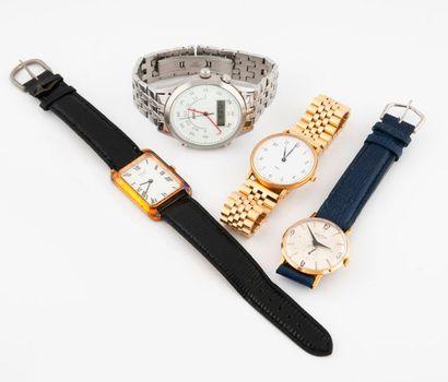 Lot de quatre montres bracelet d'homme en...