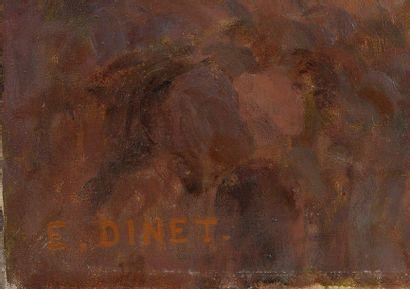 Etienne ALPHONSE DINET (1861-1929) Fillettes regardant au loin. Huile sur toile doublée....