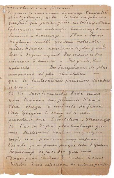 VAN GOGH VINCENT (1853-1890) GAUGUIN PAUL (1848-190 Lettre autographe signée adressée...