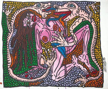 Robert COMBAS (1957) Les amoureux serpentinelles et la belle, 1988. Acrylique sur...