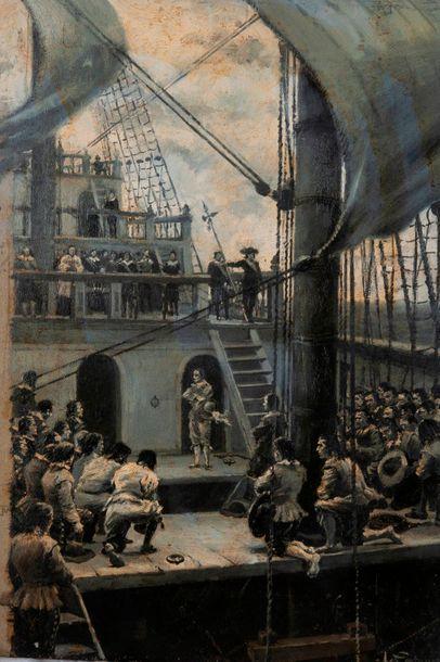 Leon COUTURIER (1842-1935)  Bénédiction sur le pont d'un vaisseau de ligne.  Huile...