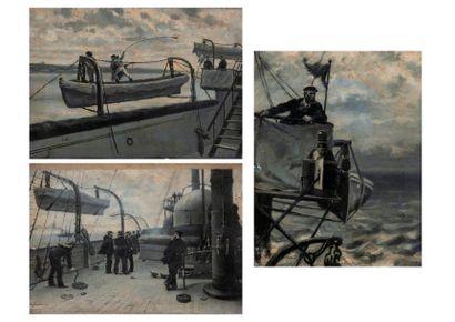 Leon COUTURIER (1842-1935) Officiers sur une passerelle observant deux marins à la...