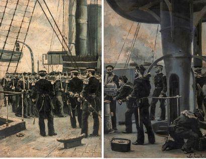 Leon COUTURIER (1842-1935) L'inspection ou troupe de marins défilant devant des officiers...