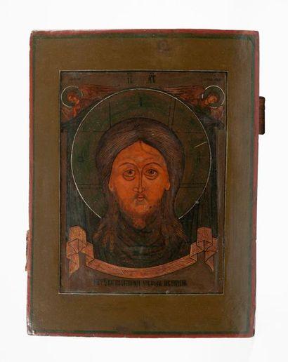 RUSSIE, XIXème siècle. Icône du Mandylion. Tempera sur bois. L'image du Seigneur...