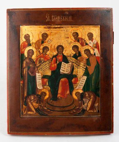 RUSSIE, Ecole de Moscou, XIXème siècle. Icon of Christ Almighty (Вседержитель). Tempera...