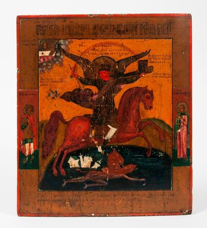 RUSSIE, Ecole du Nord, vers 1800. Icon of the Holy Archangel Michael. Tempera on...