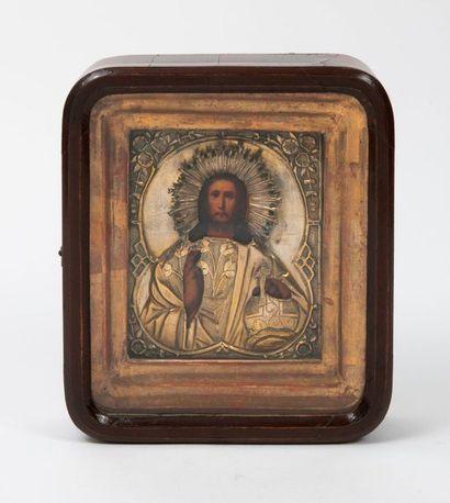 RUSSIE, fin du XIXème siècle  Christ Pantocrator.  Icône.  Tête et mains peintes...