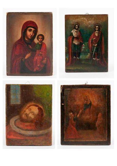 Lot de quatre icones :  - Vierge à l'enfant.  18 x 13 cm.  - Apparition de la Vierge...