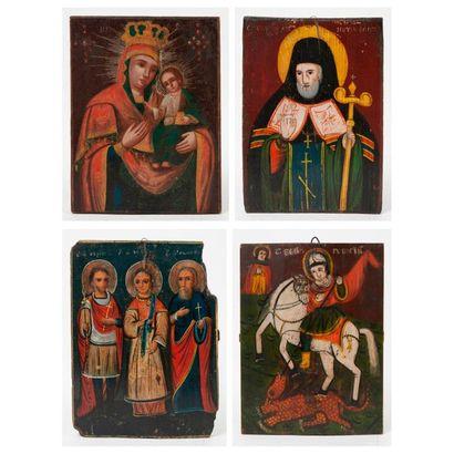 Lot de quatre icones, XIXème-XXème siècles...
