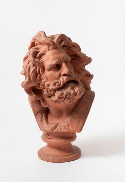 D'après François RUDE (1784-1855)  Buste de gaulois.  Tirage en terre cuite.  Signée....