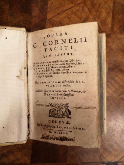 TACITUS - CORNELIUS. Opera C. Cornelii Taciti. Genève, Ex typographia Stoer, 1614....