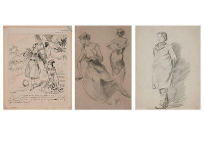 Trois dessins du XIXème siècle :  - Jules...