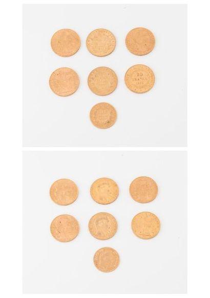 FRANCE  Lot de 6 pièces de 20 francs or :...