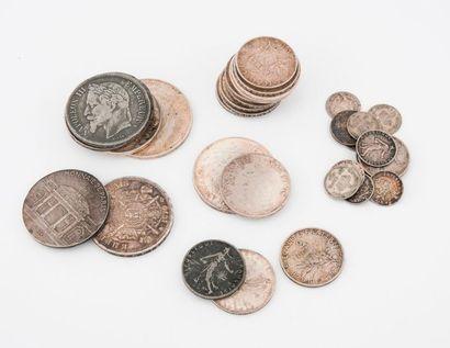 FRANCE  Lot de pièces en argent diverses...