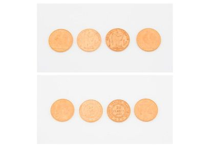 FRANCE  Lot de 4 pièces de 20 francs or :...