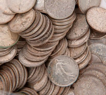 FRANCE  Lot de pièces en argent dont 5 francs,...