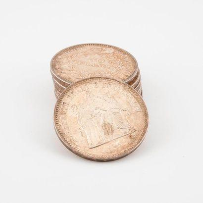 Lot de 7 pièces de 50 francs argent.  Poids...