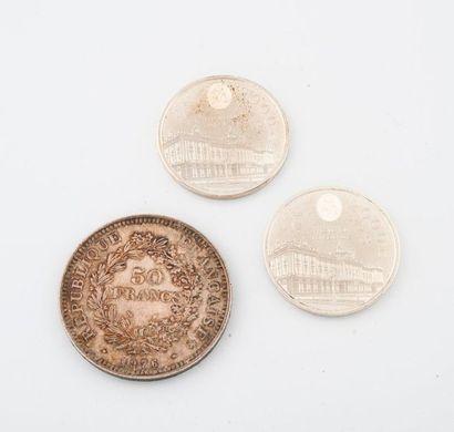Lot comprenant :  - Pièce de 50 francs argent,...