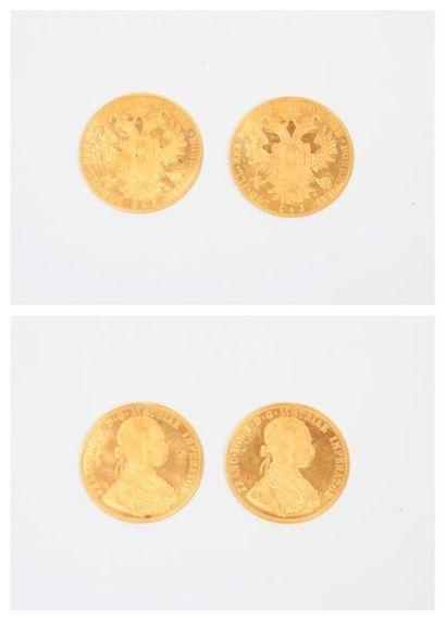 AUTRICHE HONGRIE Deux pièces de 4 ducats...