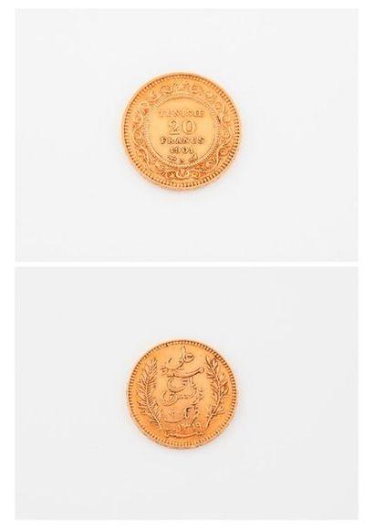 TUNISIE  Pièce de 20 francs or, 1901 A.  Poids...