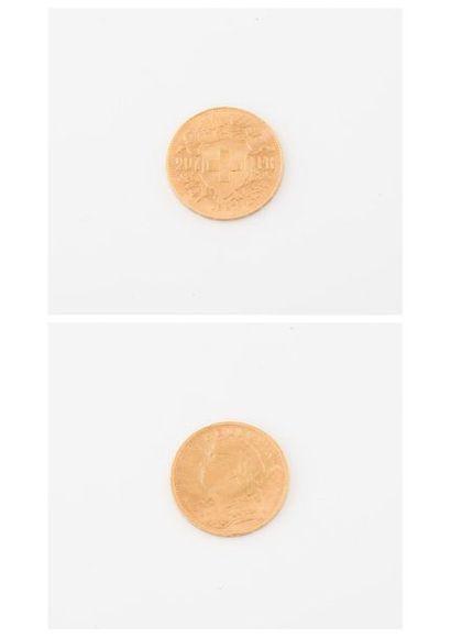 SUISSE  Pièce de 20 francs or, Helvetia,...
