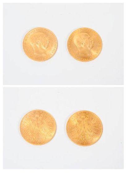 AUTRICHE Deux pièces de 100 couronnes or,...