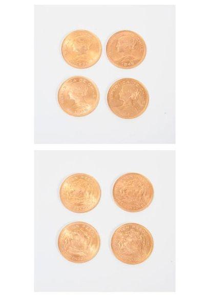 CHILI Quatre pièces de 100 pesos or, 1947,1949,1954,1956....