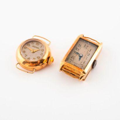Lot de deux boîtiers de montre en or jaune...